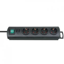 Regleta negro 4 tomas   interruptor 1 5m